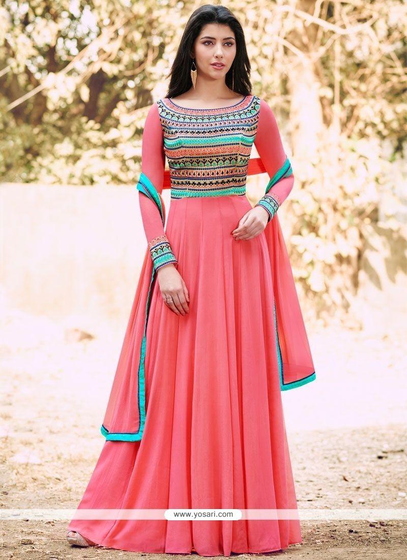 Buy energetic rose pink designer floor length suit for Floor length suits