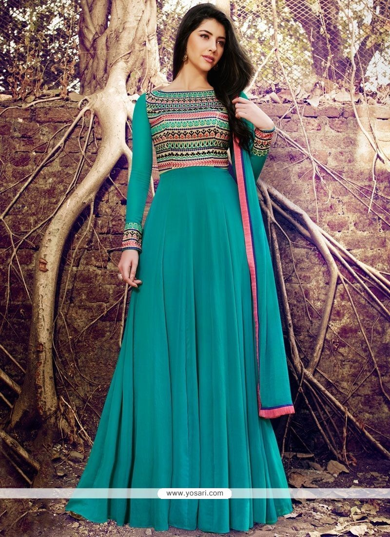 Prodigious Embroidered Work Designer Floor Length Suit