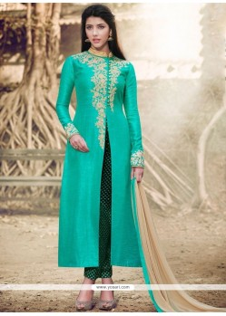 Resham Handloom Silk Pant Style Suit In Sea Green
