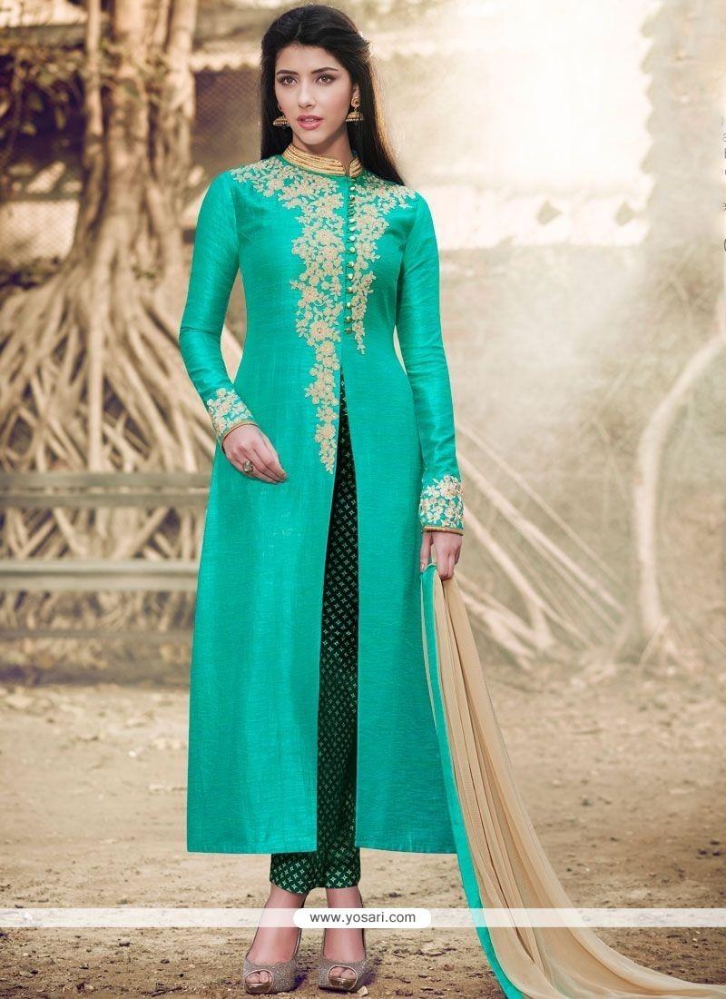 Resham Handloom Silk Pant Style Suit In Sea Green