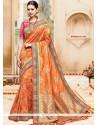 Delightful Art Silk Orange Embroidered Work Traditional Saree