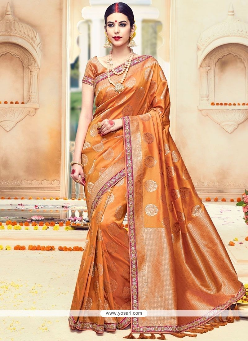 Blooming Art Silk Orange Embroidered Work Traditional Saree