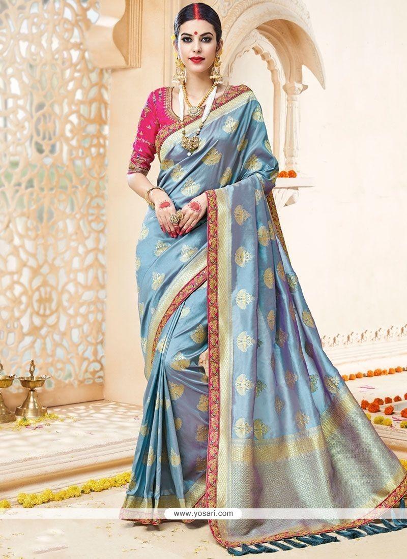 Breathtaking Art Silk Blue Designer Traditional Saree