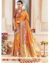 Prime Art Silk Mustard Embroidered Work Traditional Designer Saree