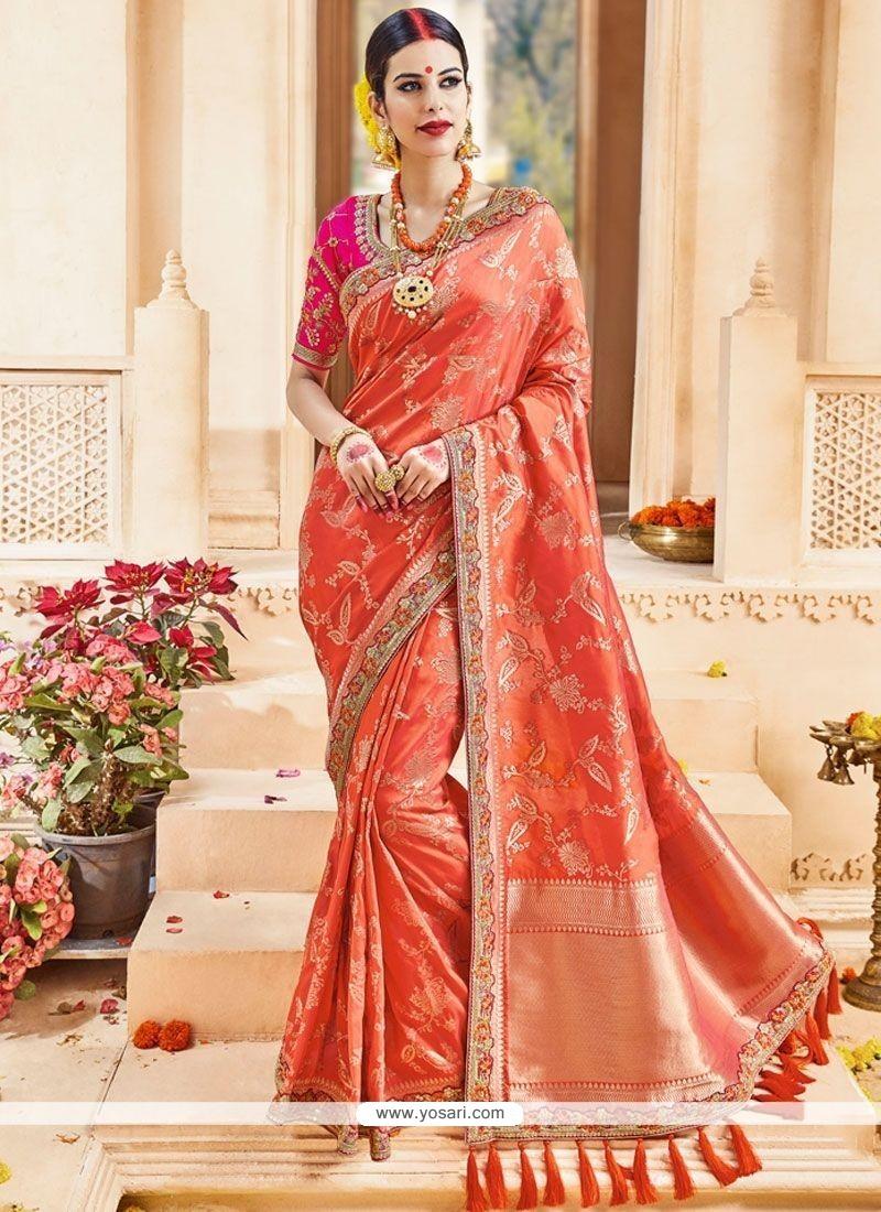 Haute Art Silk Orange Patch Border Work Traditional Designer Saree