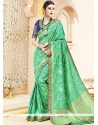 Classical Art Silk Green Embroidered Work Traditional Saree