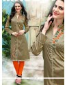 Beauteous Beige Embroidered Work Party Wear Kurti