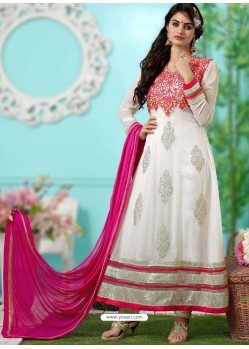 White And Cream Georgette Anarkali Suit