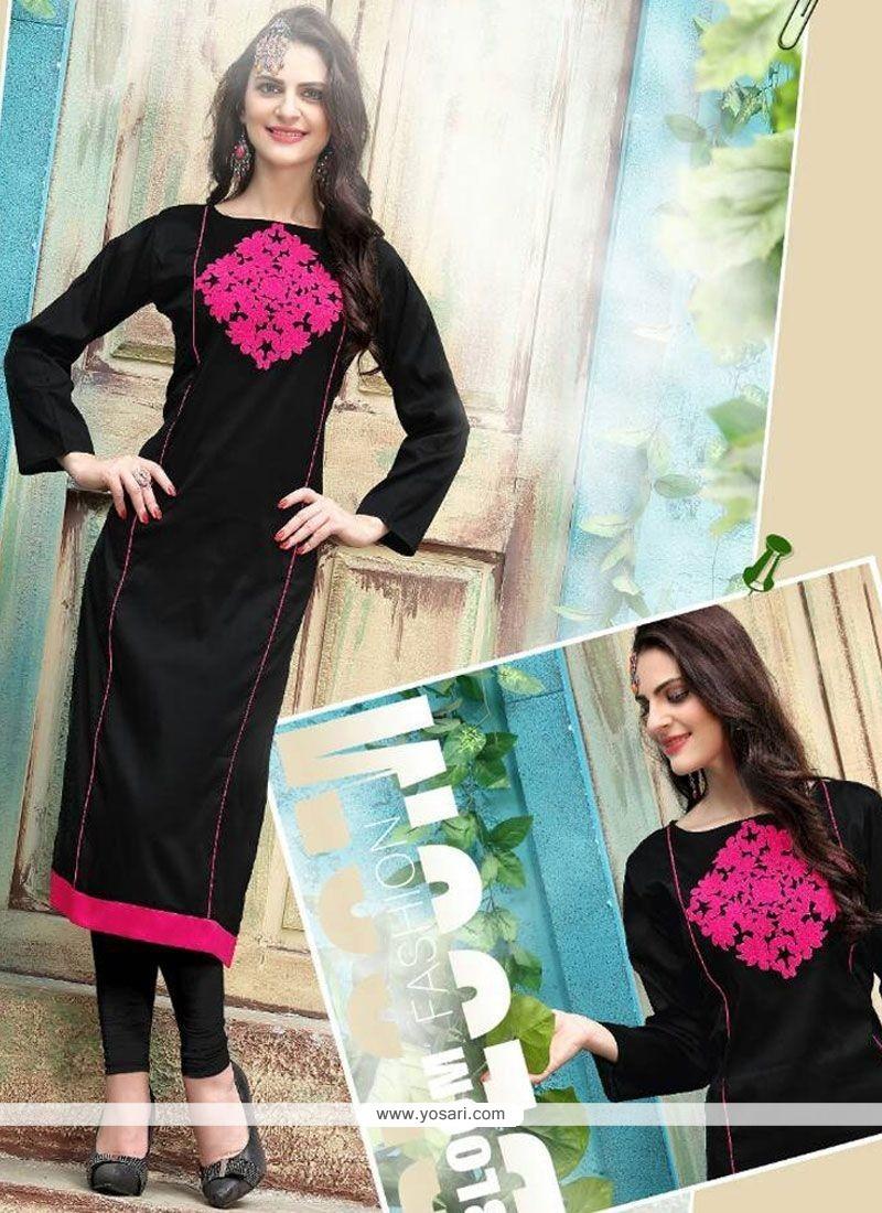 Sparkling Tafeta Silk Black Embroidered Work Party Wear Kurti