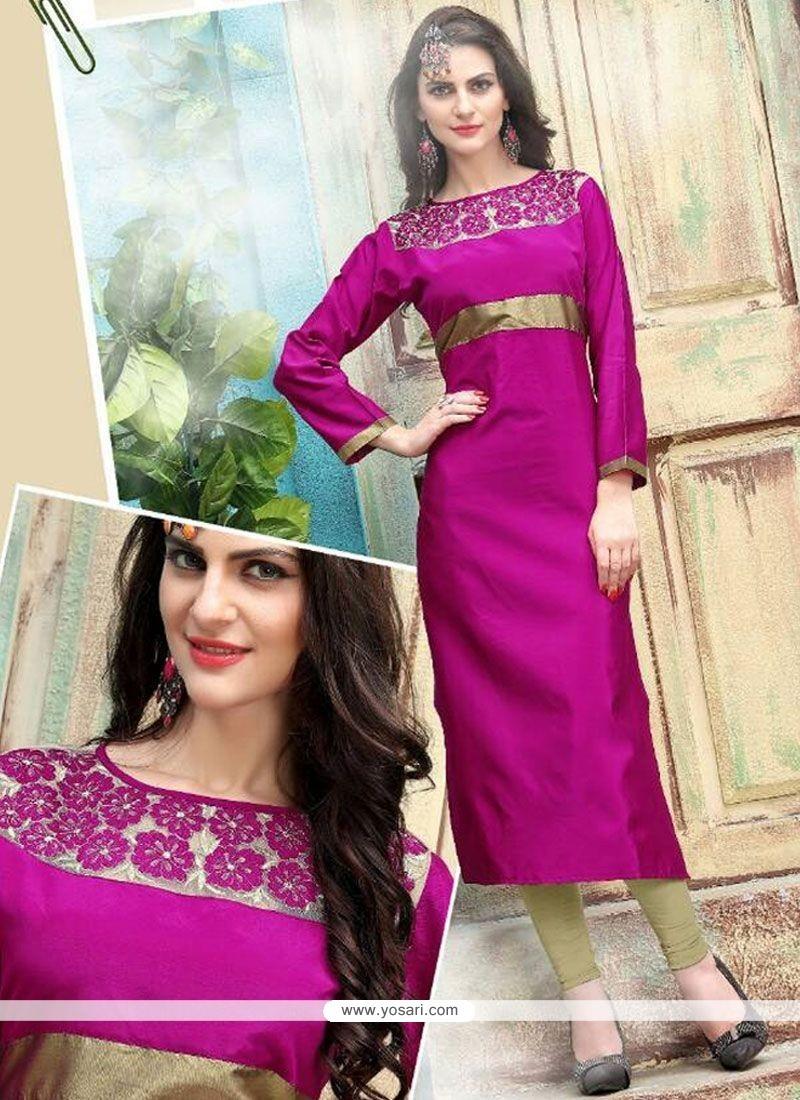 Demure Magenta Embroidered Work Tafeta Silk Party Wear Kurti
