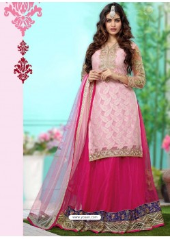 Pink Net Anarkali Suit