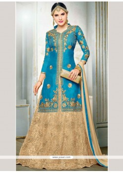 Suave Art Silk Blue Long Choli Lehenga
