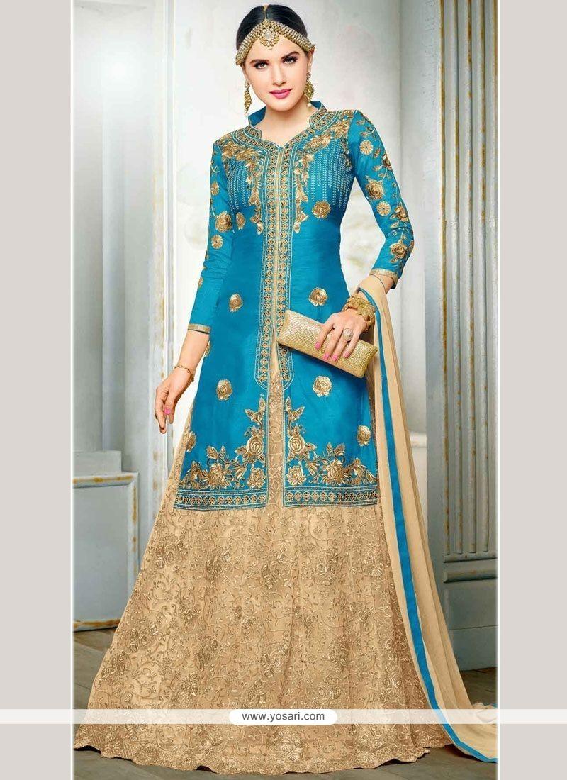 Suave Art Silk Blue Long Choli Lehenga