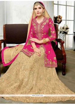 Embroidered Art Silk Long Choli Lehenga In Hot Pink