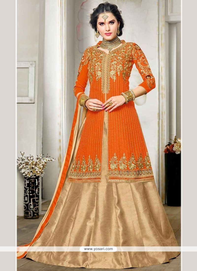 Vivacious Net Orange Zari Work Long Choli Lehenga