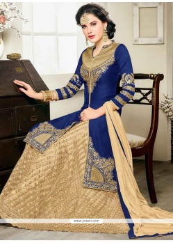 Savory Embroidered Work Long Choli Lehenga