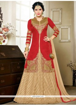 Arresting Art Silk Zari Work Long Choli Lehenga