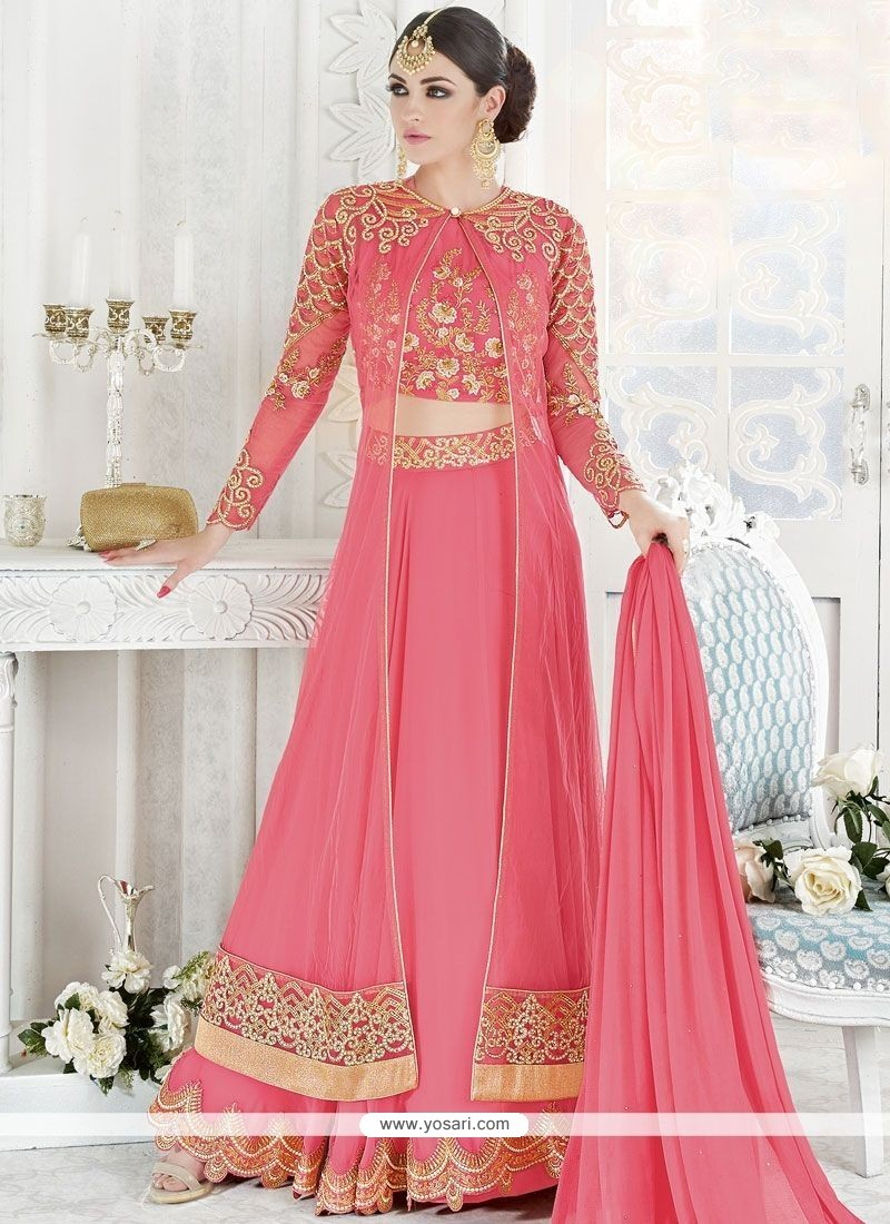 Beauteous Georgette Rose Pink Resham Work Long Choli Lehenga