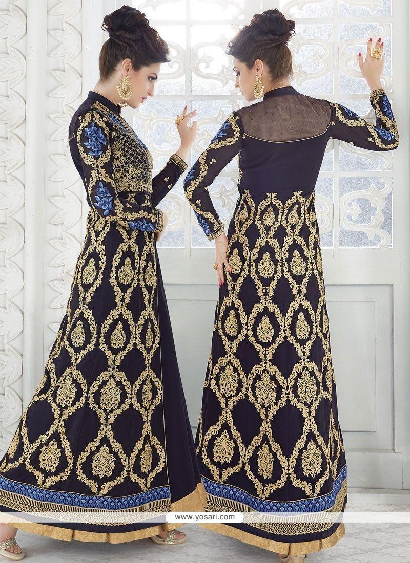 Phenomenal Lace Work Navy Blue Long Choli Lehenga