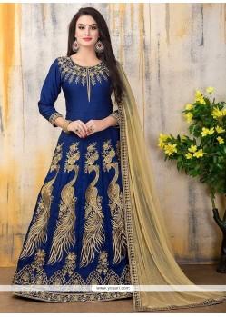 Divine Banglori Silk Blue Resham Work Designer Floor Length Suit