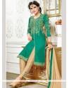 Attractive Zari Work Churidar Designer Suit