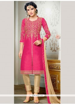 Latest Zari Work Hot Pink Churidar Designer Suit