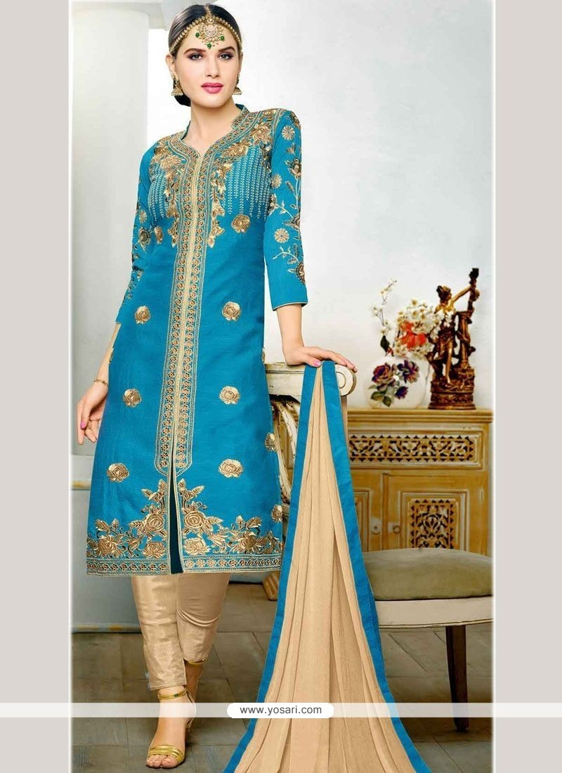 Flawless Blue Embroidered Work Art Silk Churidar Designer Suit