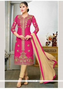 Jazzy Embroidered Work Hot Pink Art Silk Churidar Designer Suit