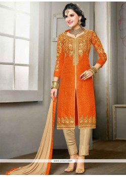 Delectable Orange Churidar Designer Suit