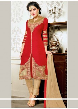 Compelling Embroidered Work Art Silk Churidar Designer Suit