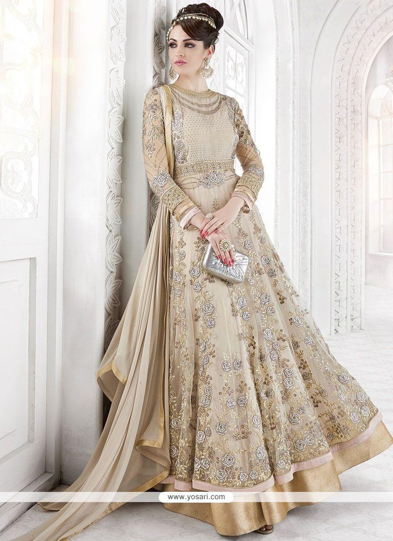 Sorcerous Beige Floor Length Anarkali Suit
