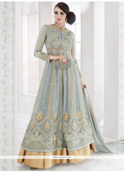 Winsome Blue Zari Work Floor Length Anarkali Suit