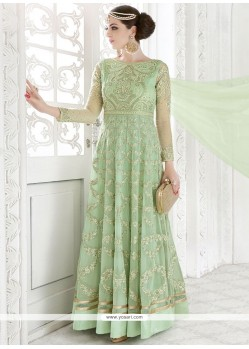 Fab Embroidered Work Sea Green Georgette Floor Length Anarkali Suit