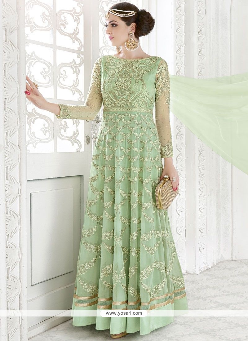 Fab Embroidered Work Sea Green Georgette Floor Length Anarkali Suit
