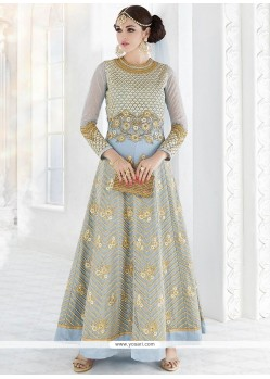 Flawless Faux Georgette Blue Resham Work Floor Length Anarkali Suit