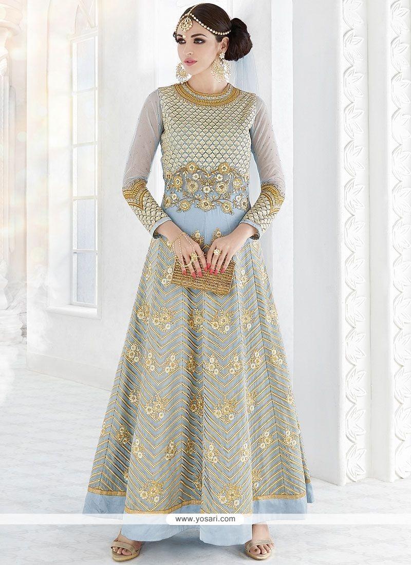 Flawless Faux Georgette Blue Resham Work Floor Length Anarkali Suit