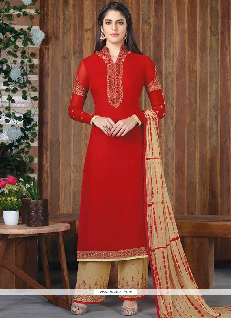 Lovable Embroidered Work Red Faux Georgette Designer Palazzo Suit