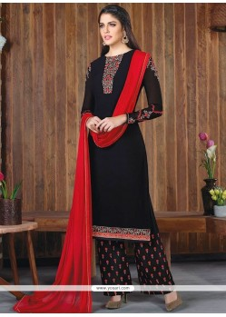 Winsome Black And Red Designer Palazzo Suit