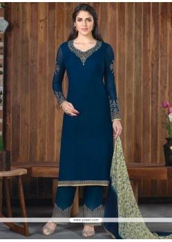 Majestic Faux Georgette Navy Blue Designer Palazzo Suit