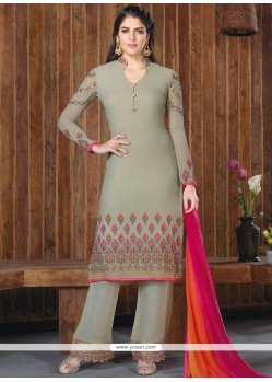 Prime Faux Georgette Embroidered Work Designer Palazzo Suit