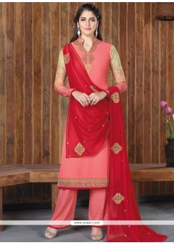 Artistic Faux Georgette Red And Rose Pink Embroidered Work Designer Palazzo Suit