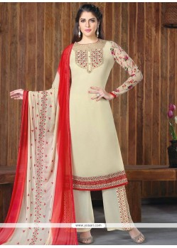 Embroidered Faux Georgette Designer Palazzo Suit In Cream And Red