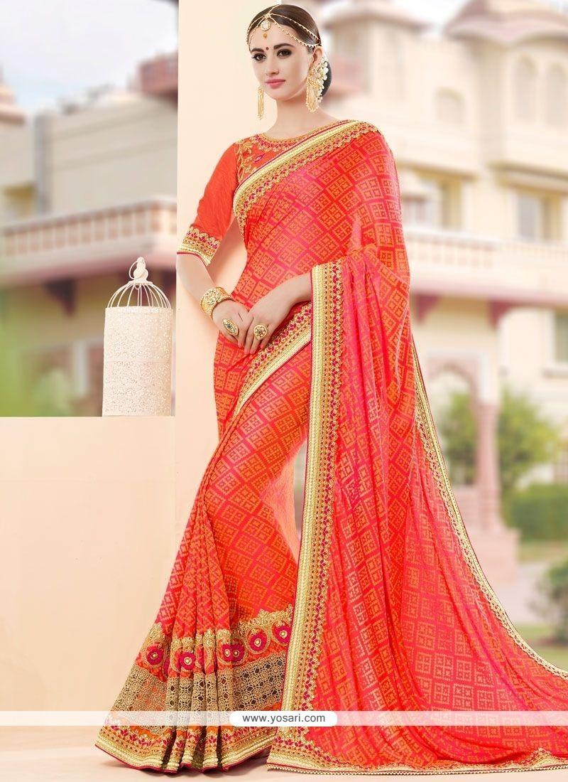 Ethnic Fancy Fabric Orange Classic Designer Saree
