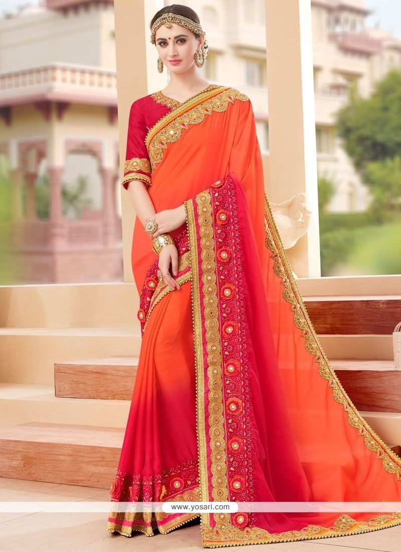 Flawless Faux Georgette Hot Pink And Orange Embroidered Work Shaded Saree