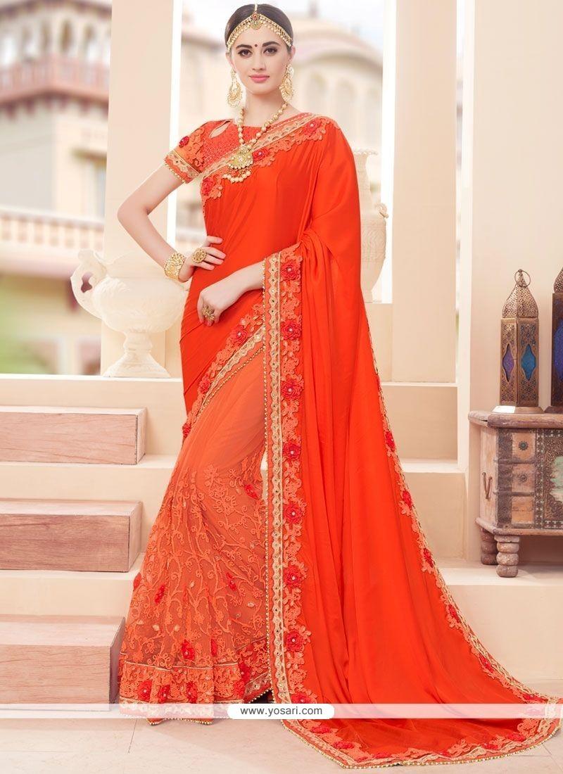 Fabulous Net Resham Work Designer Half N Half Saree