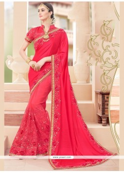 Voguish Hot Pink Embroidered Work Classic Saree