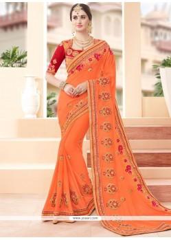 Vivacious Georgette Orange Classic Designer Saree