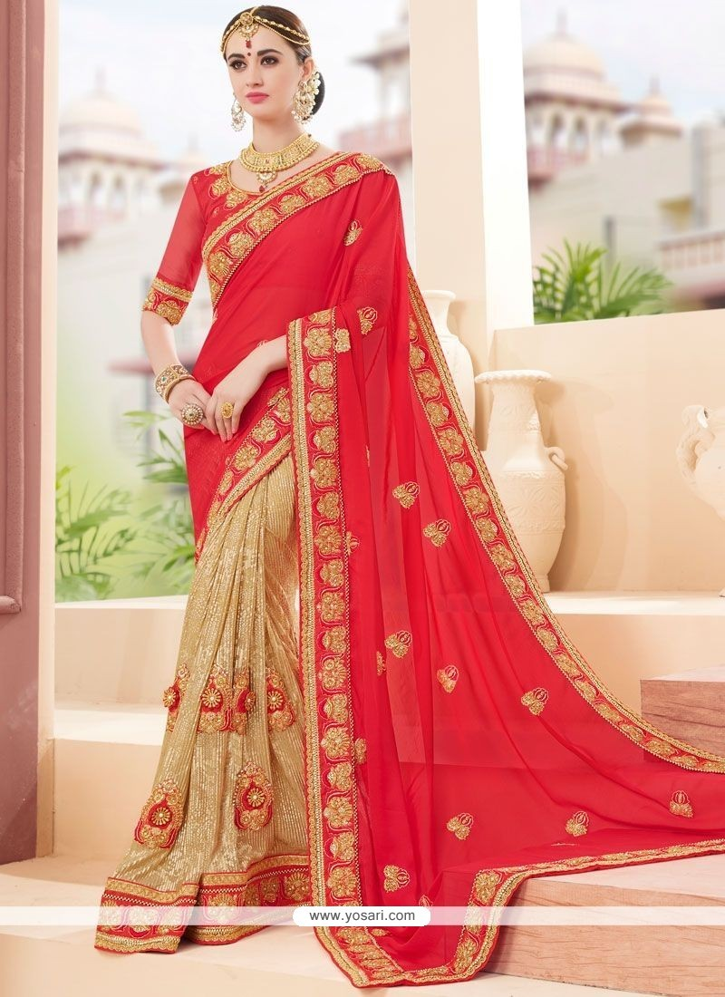 Delightful Fancy Fabric Beige And Red Patch Border Work Designer Half N Half Saree
