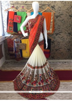 Glossy Faux Georgette Cream And Orange Half N Half Designer Saree