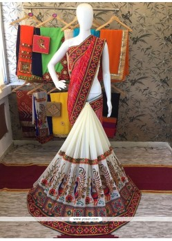 Customary Cream And Red Designer Half N Half Saree